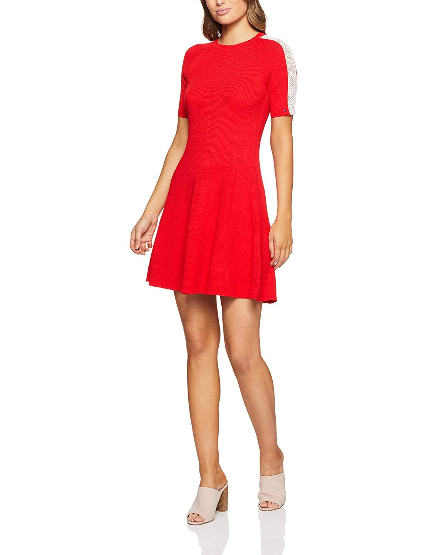 Tommy Hilfiger Damen Kleid Rayana Kurzarm rot (11) 11 (Large)